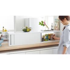 光沢仕上げ 水ハネ対応カウンター上キッチン収納庫 幅120cm 超大容量