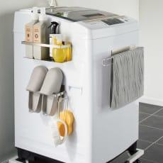 【国産】オールステンレス製 洗濯機サイドラック 3点セット(ラック+ハンガー+バスブーツハンガー)