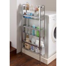 ステンレス棚の洗濯機サイドラック 4段・幅14cm・高さ103cm 写真