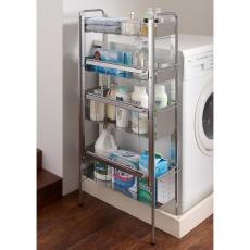ステンレス棚の洗濯機サイドラック 4段・幅21cm・高さ103cm