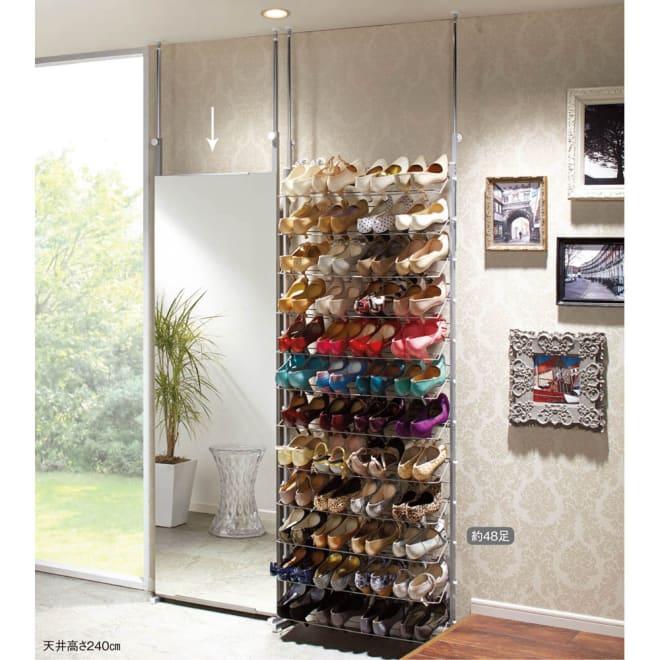 天井突っ張り式 玄関壁面ブティックミラー 幅60cm シリーズ商品とのコーディネート例