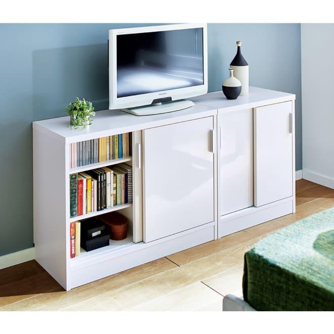 奥行35cm薄型ホームオフィス 引き戸 幅60cm コーディネート例(ア)ホワイト ※お届けは引き戸幅60cmです。省スペースの薄型テレビ台として。