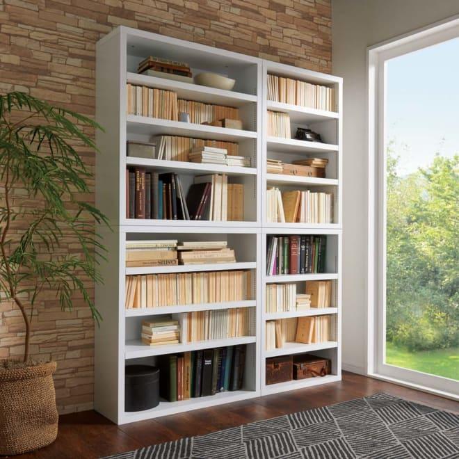 組立不要1cmピッチ頑丈棚板本棚 オープンタイプ 棚板頑丈で大量収納が叶います。 コーディネート例(イ)ホワイト ※左から幅80cmタイプ、幅60cmタイプです。
