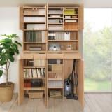 天然木調 掃除機もしまえる本棚 幅80...