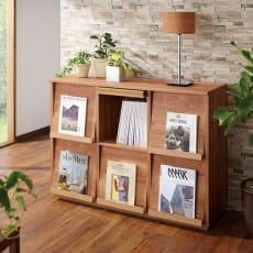 天然木調 ディスプレイラックシリーズ 3列2段 写真