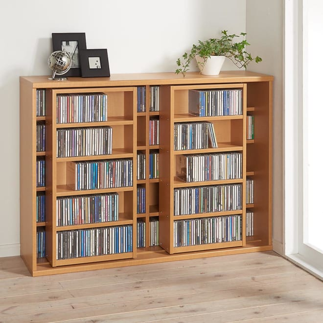 スライド式CD&コミックラック 2重タイプ5段 幅120cm [CD用] (ア)ライトブラウン