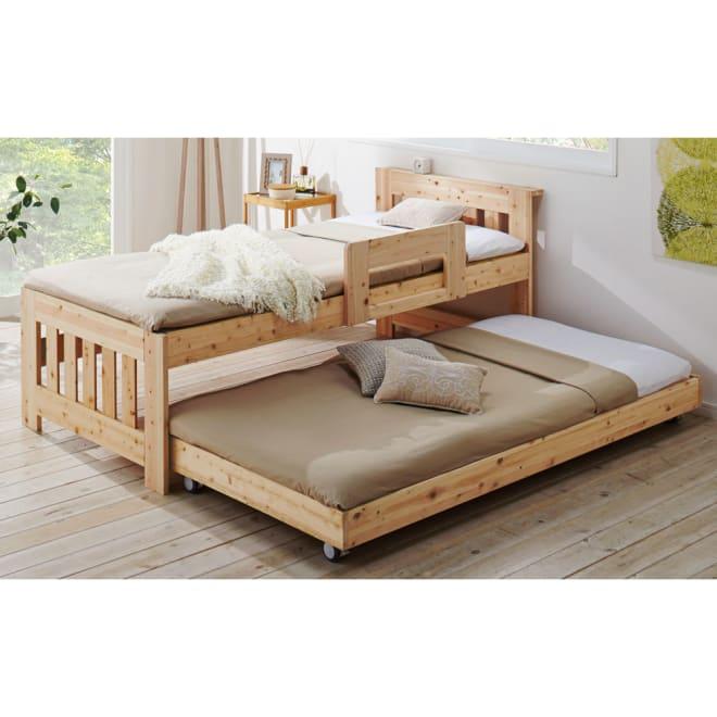 ひのきが香る天然木 親子すのこベッド 上下段親子ベッド 純国産ひのきの香りにつつまれてお休みください。 ※お届けはフレームのみです。
