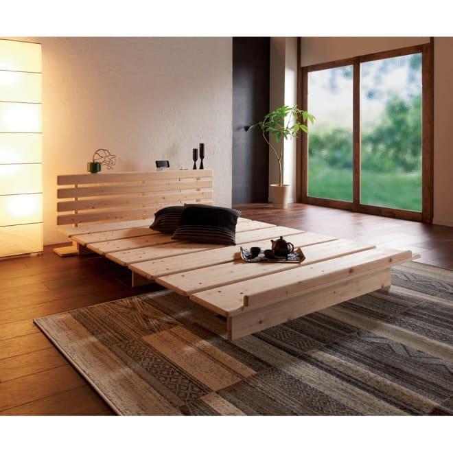 角の丸い日光檜ステージベッド ヘッドボード付き(長さ215高さ60.5cm) 使用イメージ ※写真はワイドダブルサイズです。