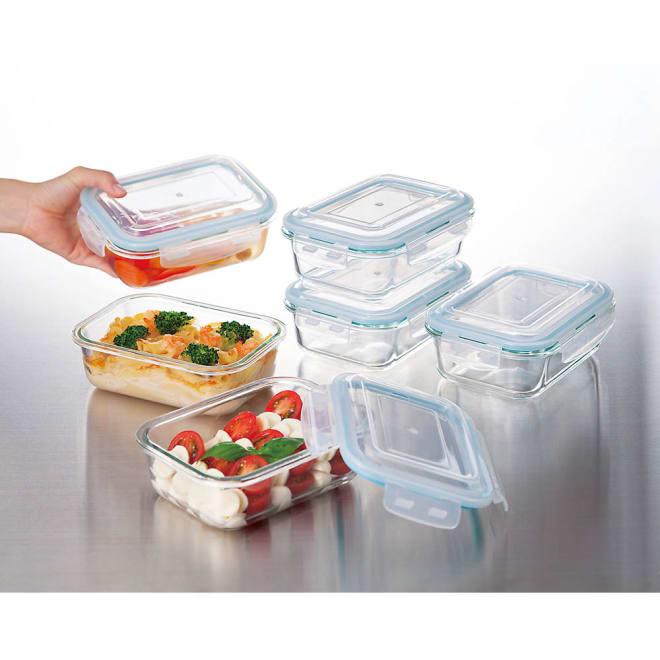 ガラス保存容器 6点セット オーブン・レンジ加熱、冷凍保存も可能。