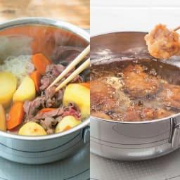 ジオ鍋2点&ビタクラフト スーパー鉄フライパン2点 豪華4点セット 特典付き 【炒める】フタをしながら蒸し炒めにすると、肉じゃがも程よいやわらかさに。(※写真は肉じゃが)