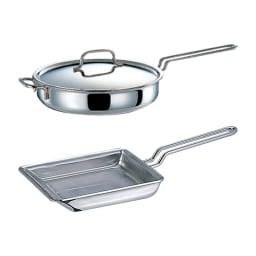 【特典3点付き】IH対応 服部先生のステンレス7層構造鍋「ジオ」 6点セット 上から ソテーパン、玉子焼き