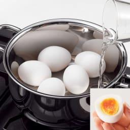IH対応 服部先生のステンレス7層構造鍋「ジオ」 片手鍋径20cm 【茹でる】調理時間5分、わずか70ccの水でゆで玉子が完成します。(※写真はゆで玉子)