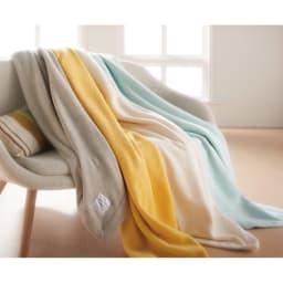 【三井毛織】エジプト超長綿やわらか綿毛布 敷き毛布 左から(ア)グレージュ (イ)ミモザイエロー (ウ)アイボリー (エ)ブルーグリーン