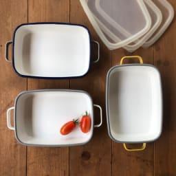 調理もできるホーロー容器 色が選べる2個組 浅型S
