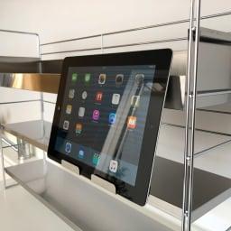 スマホが置けるステンレス棚&ボックス付きスパイスラック 幅68cm