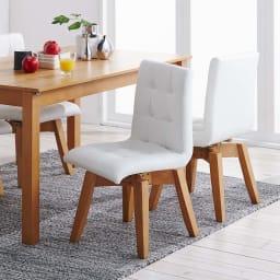 ナチュラルモダン伸長式オーク天然木ダイニングお得な5点セット(伸長式テーブル・幅135・180cm+回転チェア2脚組×2) 回転チェアは北欧デザインの優しいシルエットです。