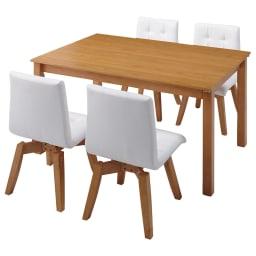 ナチュラルモダン伸長式オーク天然木ダイニングお得な5点セット(伸長式テーブル・幅135・180cm+回転チェア2脚組×2) ≪テーブル通常時幅135cm≫対応人数めやす 4~6名 テーブル下高さ68cm。