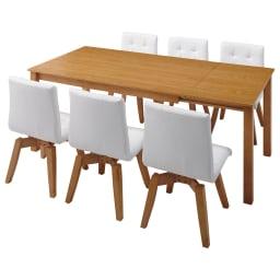 ナチュラルモダン伸長式オーク天然木ダイニングお得な5点セット(伸長式テーブル・幅135・180cm+回転チェア2脚組×2) ≪テーブル伸長時幅180cm≫※お届けはテーブル+チェア4脚です。 対応人数めやす 4~8名