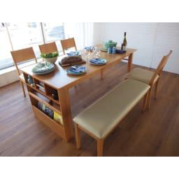 伸長式ダイニングシリーズ お得な6点セット(伸長テーブル大+ベンチ大+チェア4脚) 幅170cmの広々テーブルでホームパーティにも。