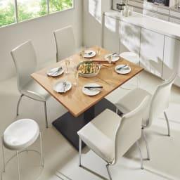 天板が2倍に広がる!昇降バタフライダイニング テーブル・幅90cm (イ)ナチュラル(伸長時) ※テーブル高さ70cmで撮影 ダイニングテーブルとしても活躍。