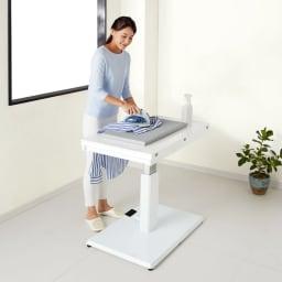 天板が2倍に広がる!昇降バタフライダイニング テーブル・幅90cm (ア)ホワイト(通常時) 54~78cmの範囲で高さ調整できるからアイロン台としても。