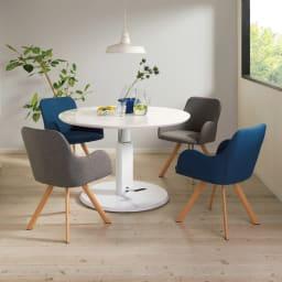 高さ自由自在!カフェスタイルダイニング 丸形昇降テーブル単品・径110cm ホワイト コーディネート例 ※お届けは昇降テーブル・径110cmです。※テーブル高さ70cmで撮影。