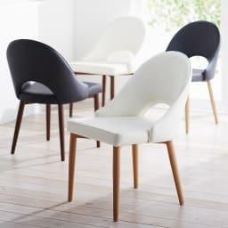 高さ自由自在!カフェスタイルダイニング 3点セット(丸形昇降テーブル径90cm+ラウンジチェア×2) ホワイト チェアの座面はホワイトとブラックの2色、脚部はナチュラルとダークブラウンの2色からお選びいただけます。