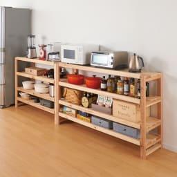国産杉の飾るキッチンシリーズ キッチンラック・ロー 幅119奥行38cm コーディネート例 ※お届けは幅119奥行38cmタイプです。