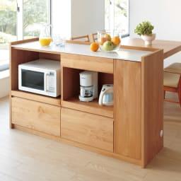 アルダー天然木人工大理石トップ 間仕切り家電収納キッチンカウンター 幅90cm (ア)ナチュラル ※写真は幅144cmタイプです。