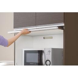 組立不要!家電を隠せるキッチン収納シリーズ レンジラック幅59.5cm フラップ扉は本体の内部に収まるので、家電使用時はオープン棚に。