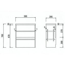 引き戸カウンター下収納庫 奥行29.5高さ70cmタイプ オープンラック・幅59.5cm 詳細図