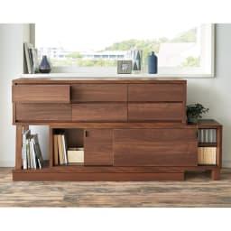 伸長式カウンター下収納庫 幅160~260cm 書棚や雑貨収納としてもオススメ。(イ)ダークブラウン