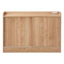 コンセント付き引き戸カウンター下収納庫 幅118cm奥行25cm (イ)ブラウン 温かみのある人気の木目柄ブラウン。