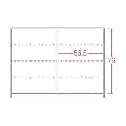 ヴィンテージ調ホワイト木目カウンター下収納庫 幅120cm高さ90cm 内寸図(単位:cm)
