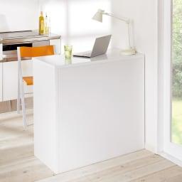 間仕切りキッチンカウンター カウンターデスク 幅120cm 背面からも美しい背面からも美しい間仕切り仕上げ。 ※写真は幅90cmタイプです。