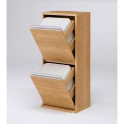 ゆっくり閉まる家具調ダストボックス 2分別 幅39.5cm (イ)ブラウン ペール容量はたっぷり18リットル。