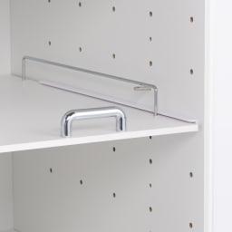 上品な清潔感のあるアクリル扉のキッチンすき間収納 幅20cm・奥行55cm 棚板は6cmピッチ10段階調節可能。収納したい物に合わせて設定できます。