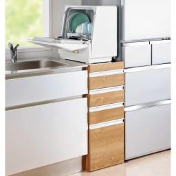 色が選べるステンレス天板 すき間収納庫 ロータイプ 幅40高さ85cm 食洗器置きとしても利用できます。