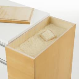新潟の米びつ職人が作った 桐の米びつ付きすき間収納庫 幅15cm 米びつ容量12.5kg 天板は置くだけの仕様。米を補充するときは簡単に外せます。