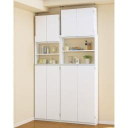 薄型で省スペースキッチン突っ張り収納庫 扉タイプ 幅60cm・奥行19cm 商品正面向き、扉閉め使用時。