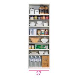 頑丈引き戸キッチンストッカー 幅61cm ※赤文字は内寸(単位:cm)