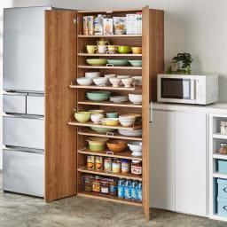 食器が探しやすく取り出しやすい食器棚 幅75cm コーディネート例(イ)ナチュラル