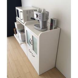 キッチン収納ミニ食器棚シリーズ キャビネット小(高さ90.5cm) 薄型なので場所を取りません。
