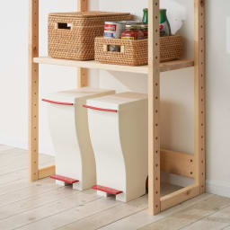 国産ひのきキッチンラック スライド2段タイプ ハイタイプ(高さ179cm)幅60cm 【床置き可能】棚を上に設置すればダストボックスや段ボール箱を床に直置きが可能。