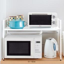 頑丈!カウンター上省スペース 脚部幅1cmキッチン収納ラック 棚2段タイプ 色見本(ア)ホワイト ※写真は棚1段タイプです。