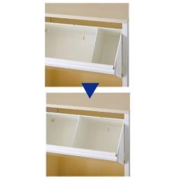 カラフルなペールでわかりやすく分別できる スチール製ダストボックス 幅72cm 高さ95cm 【動かせる仕切り板付き】 取り付け位置が2カ所から選べ、分別に便利。