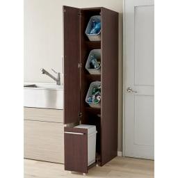 組立不要 キッチン分別タワーダストボックス 幅28.5cm スリム4分別 ゴミ箱タイプ (イ)ダークブラウン