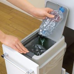組立不要 キッチン分別タワーダストボックス 幅28.5cm スリム4分別 ゴミ箱タイプ 下段ペールは開けやすいプッシュ式。