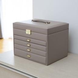 たっぷり収納 ジュエリーボックス (イ)アッシュベージュ ※撮影環境により、実物よりもグレー色の強い印象の画像となっております。