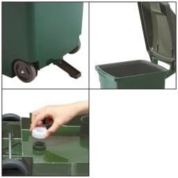 ハンドル付きダストボックス 90Lキャスター付き1個 ◎キャスター・転倒防止具付き。 ◎底面に排水栓付き。 ◎フタは開閉途中で固定できます。